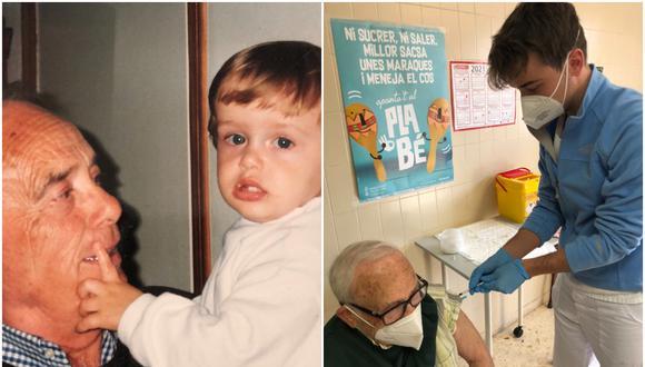 Enfermero que vacunó a su abuelo y compartió foto se volvió viral en redes sociales. (Foto: @JuliArrufat11 / Twitter)