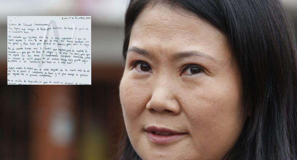 Hija de Keiko Fujimori escribió carta a mano a los magistrados del TC