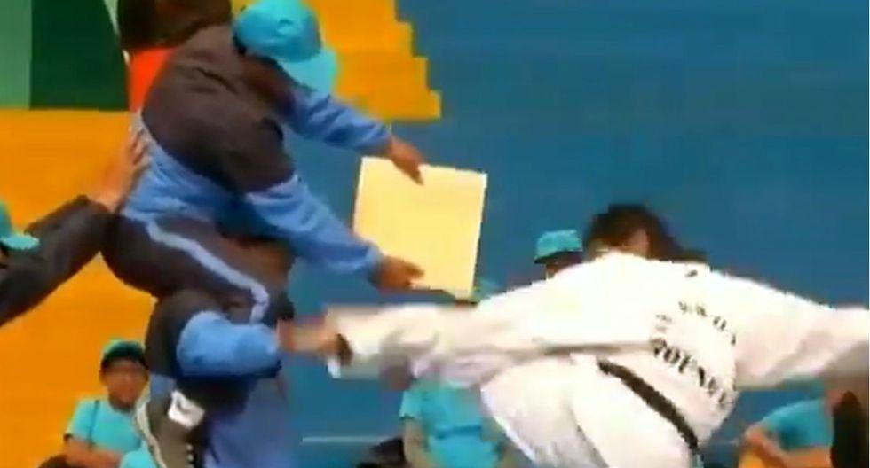 Maestro karateca en Huaraz hizo tremendo papelón al mostrar sus habilidades