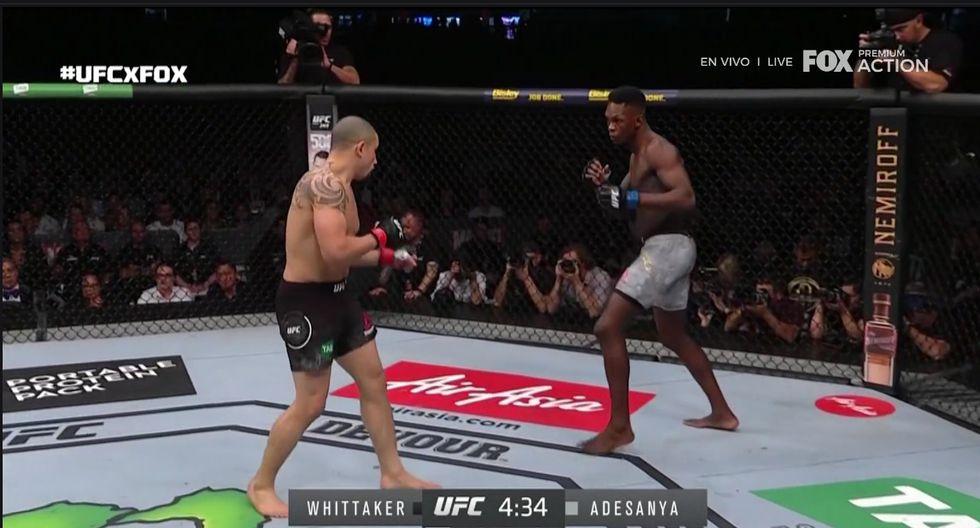 Tremenda victoria de Israel Adesanya sobre Whittaker en Australia. (Captura Fox Action)