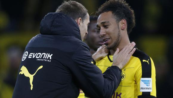 Aubameyang y Tuchel coincidieron por dos años en Dortmund. (Foto: AFP)