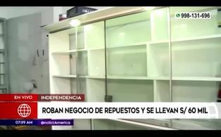 Sujetos roban negocio de repuestos y se llevan más de 60 mil soles en Independencia
