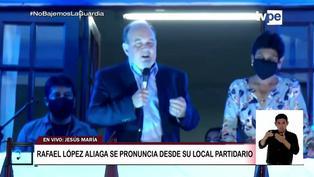 """Rafael López Aliaga hace 'balconazo': """"No se desesperen. Estoy haciendo el conteo"""""""
