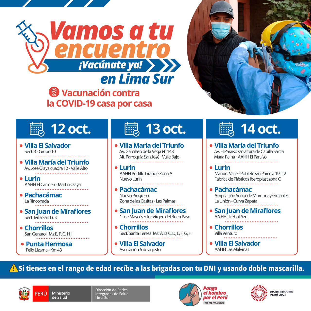 ¡La vacuna contra la COVID-19 llega a tu HOGAR!. Foto: Diris Lima Sur