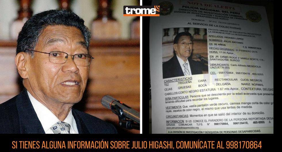 Julio Higashi, padre de Pilar Higashi, desapareció en Surco