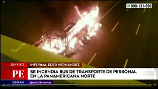 Los Olivos: bus se incendió a la altura del kilómetro 17.5 de la Panamericana Norte