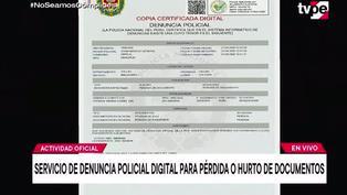 "Activan plataforma ""Denuncia Policial Digital"" para reportar pérdida o hurto de documentos"