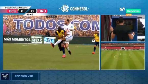 Anularon el segundo gol de Ecuador tras revisión del VAR. (Movistar T)