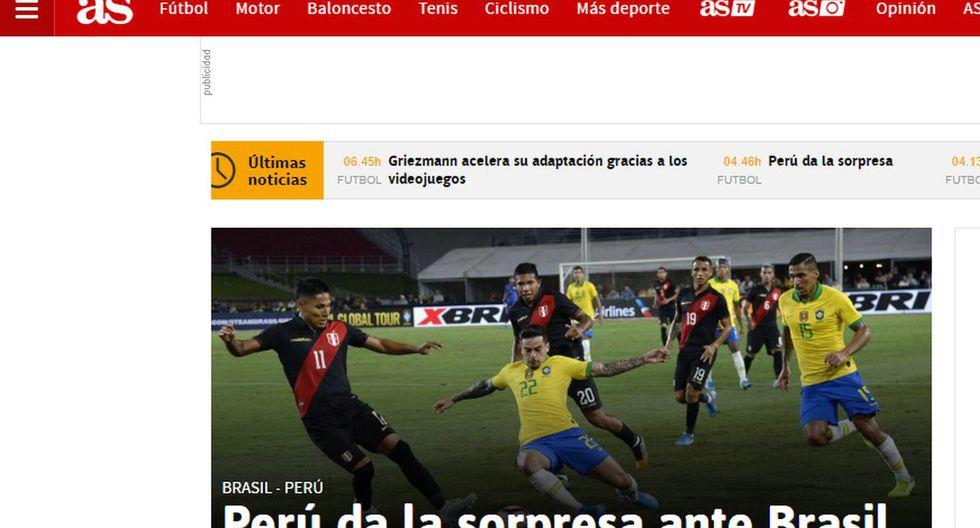 El diario AS también informó sobre la victoria del cuadro nacional.