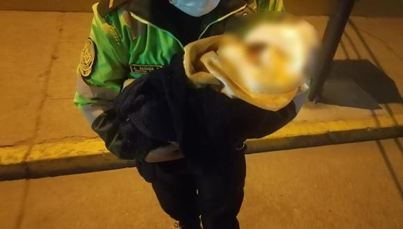 Junín: policía intervino a la madre de la menor recién nacida que fue abandonada (Foto: PNP)